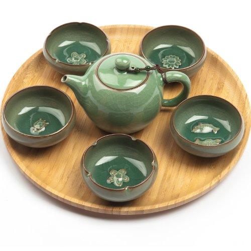 """Exklusives asiatisches Gong Fu Cha Teeservice""""Charms"""" (kleine Kanne mit 5 Teeschalen) aus hochwertigem Seladon-Porzellan"""