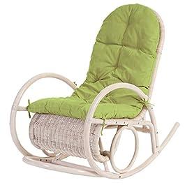 Mendler Fauteuil à Bascule Esmeraldas, Rocking-Chair, Fauteuil en rotin, Blanc – Rembourrage Vert