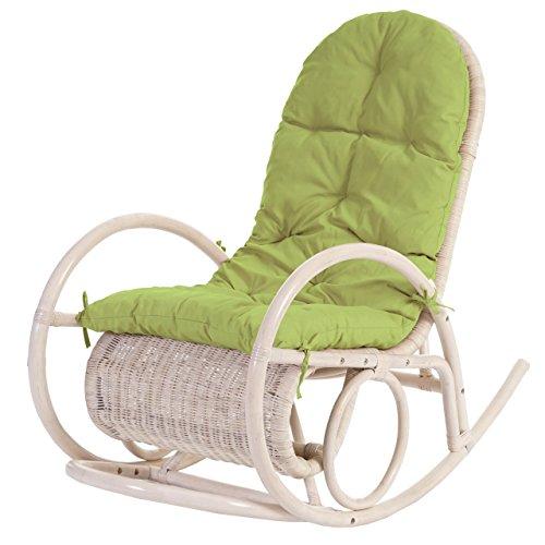 Mendler Fauteuil à Bascule Esmeraldas, Rocking-Chair, Fauteuil en rotin, Blanc ~ Rembourrage Vert