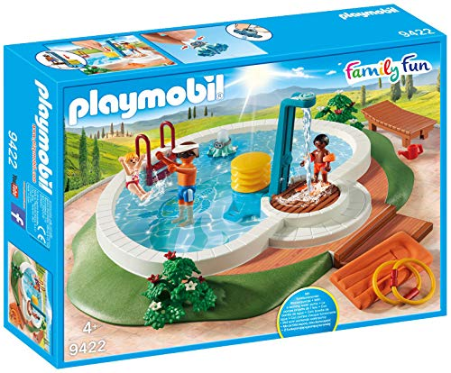 Playmobil 9422 Family Fun Swimming Pool with Functioning Shower and Floating Raft