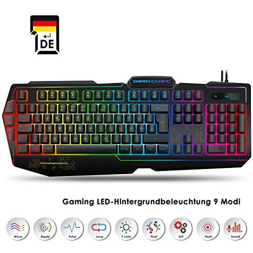 EMPIRE GAMING - Gaming Tastatur K900 QWERTZ - 105 halbmechanische Tasten - LED-RGB-Hintergrundbeleuchtung 9 Modi, Davon Einer personalisierbar - Tastatur Gamer 19 Anti-Ghosting-Tasten