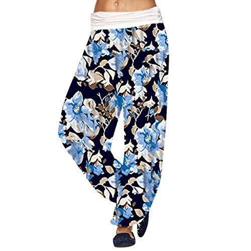 LUGOW Leggings Damen Aladinhose Pants Pumphose Baggy Palazzo Hosen Yoga Haremshose Günstig Blumendruck Lange Hosen Strandhosen Weite Hose Freizeithose(XXXXX-Large,Blau)