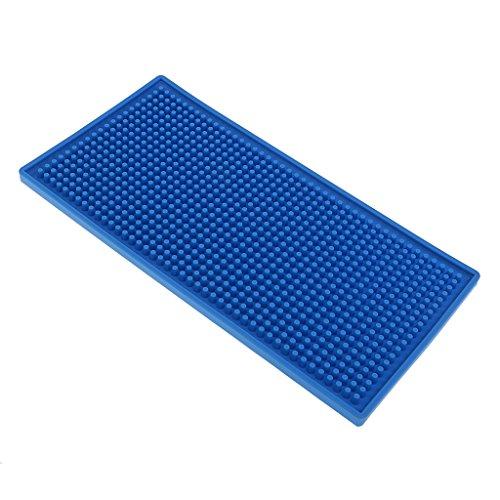 perfk Glasuntersetzer Barmatte Gummiuntersetzer für Bar, Küche, Restaurant, Farbe und Größe wählbar - Blau, 15x30cm (Restaurant Spüle Küche)