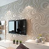 HANMERO® 3D diseño papel pintado moderno con dibujos de rayas curvas no tejido papel de pared pintado, color blanco plateado,0.7M*8.4