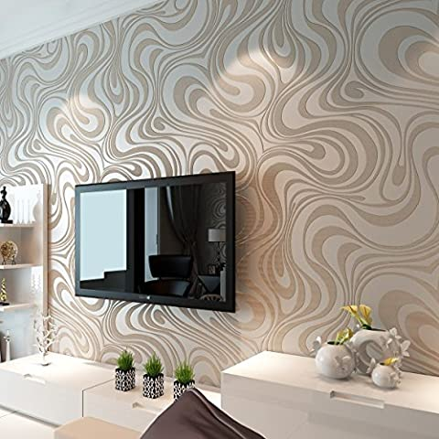 HANMERO Modern Minimalist Abstract Curves Glitter Non-woven 3D Wallpaper Roll Mural Papel De Parede Flocking Striped Wallcoverings For Bedroom Living Room TV Backdrop Cream White &