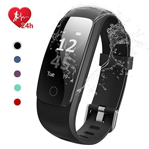 EFOSHM Fitness Tracker; Smart Watch Wasserdicht IP67Touch Bildschirm Activity Tracker mit Herzfrequenz Monitor Kalorien Zähler Schrittzähler Smart Armband Android & iOS Smartphone, Schwarz - Zähler-monitor Kalorien