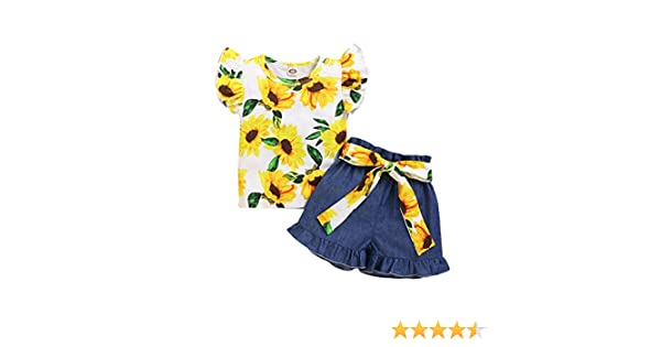 Newborn Baby Girl Clothes Fly Sleeve Cotton Ruffle Sunflower Tank Top T-Shirt+Bloomers Jeans Pants Shorts w//Floral Belt 3Pcs Summer Infant Toddle Casual Playwear Birthday Cake Smash Outfit Set 6M-3Y