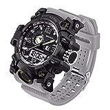 WMWMY LED Électronique Men's Sports Chronographe Montre Homme Affichage Date Semaine Réveil Militaire Armée Watch, 3