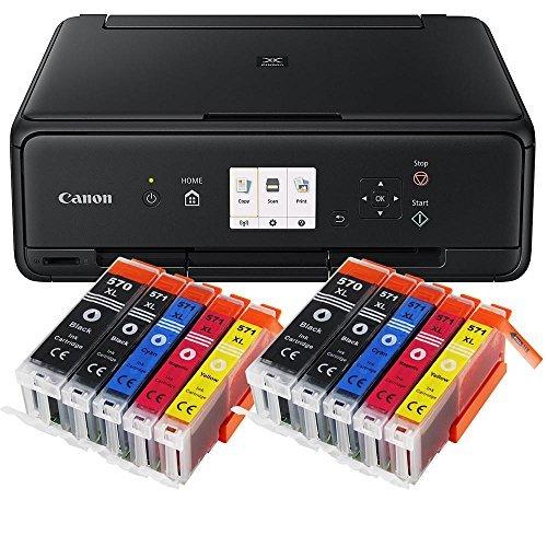 Canon Pixma TS5050 TS-5050 All-in-One Farbtintenstrahl-Multifunktionsgerät (Drucker, Scanner, Kopierer, USB, WLAN, Apple AirPrint) schwarz + Set IC-Office XL Tintenpatronen 570XL 571XL (Mit 10 XL Patronen) (Apple-kompatible Drucker)