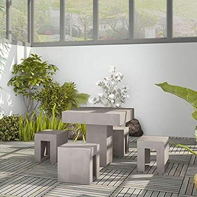 vidaXL 5-TLG. Beton Gartenmöbel Essgruppe Sitzgruppe Gartengarnitur Tisch Hocker von vidaXL auf Gartenmöbel von Du und Dein Garten