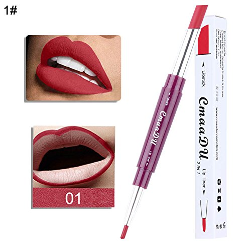 Lipgloss clifcragrocl,2 in 1 Dual Head Lipliner Pencil Wasserdichter, langlebiger Stick Soft Lip...