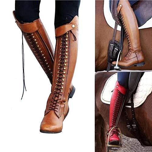 XLBHSH Botte Femme Boots Bottines Steampunk Gothique Vintage Style RéTro Boucle Punk Bottes De...