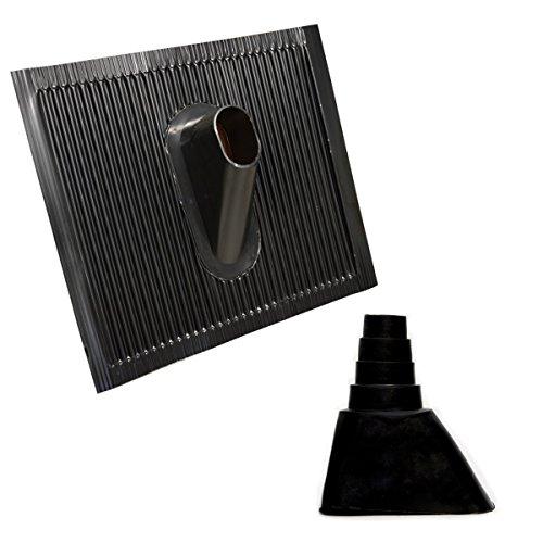 Dachabdeckung Alu-Dachziegel Schwarz Dach Montage Abdeckung Ziegel Dachpfanne für Sat Dachsparrenhalter + Universal Gummimanschette Schwarz