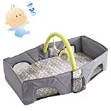 QIMAOO Baby Boys Girls Sleepy Nest Play Mat Toddler Baby Mat Indoor Entertainment Soft Crawling Playmat Floor Gym Outdoor Activity Foldable Portable Infant Bed Folds Into Backpack Gym Mat with Sides and Removable Toys