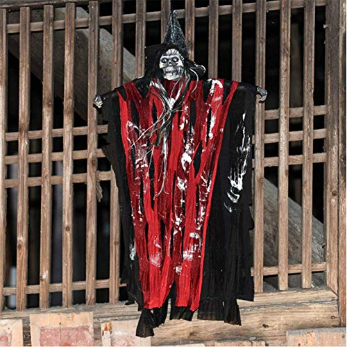 H.Yue Animated Skeleton Ghost,Animated Hanging Grim Reaper with Glowing Red Eyes, Best Halloween Decoration Prop 27.6 inch (Grim Reaper Prop)