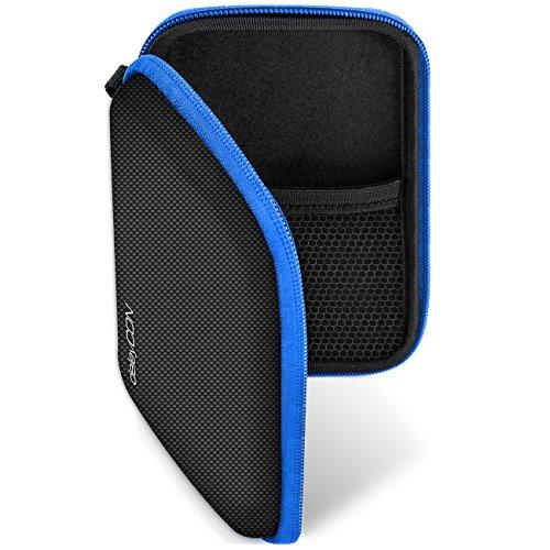 deleyCON Navi Tasche Navi Case Tasche für Navigationsgeräte - 4,3 Zoll & 5 Zoll (14,6x9,3x3,4cm) - Robust Stoßsicher 2 Innenfächer - Schwarz Blau