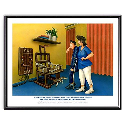 Veit`S Bilder Wandbild Cartoon Physiotherapie Reizstrom Schmerztherapie - neulich ganz günstig bei Ebay ersteigert! (Mittel 40x50mit Rahmen)