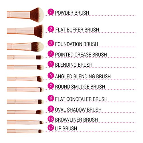 bhcosmetics Metal Rose – 11 Piece Brush Set With Cosmetic Bag