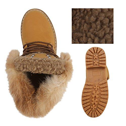 Unisex Damen Herren Warm Gefütterte Damen Worker Boots Stiefeletten Outdoor Flandell Hellbraun Fell