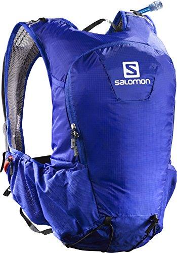 Salomon Zaino leggero 15 litri (Taglia unica), Ideale per l'escursionismo, la corsa o la bici, 40 x 18 x 17 cm, SKIN PRO 15 SET, Blu/Arancione, L38233700