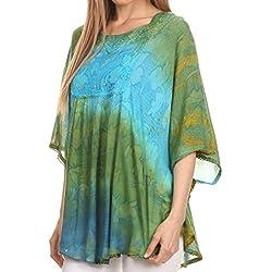 Sakkas 14031 -Blusa Poncho Camiseta Top Ellesa Ombre circular desteñida con lentejuelas bordadas- Verde / Turq-OS