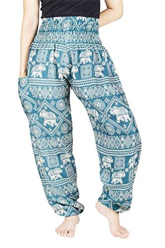 Lofbaz Mujer Elefante 1 Pantalones de pantalón Harem Boho Waock Boho Verde Trullo XL