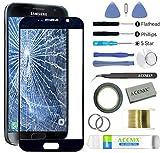 ACENIX® - Kit de reparación de lente de cristal frontal para Samsung Galaxy S7 negro + cinta de 2 mm y herramientas de apertura
