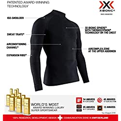 X-Bionic Energy Accumulator 4.0 Shirt Turtle Neck Long Sleeves Men Capa De Base Camiseta Funcional, Hombre, Black, S