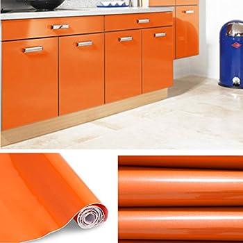 KINLO® selbstklebende folie küche Orange 2 Stk. 61x500cm aus ...