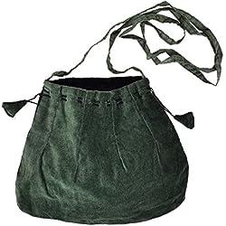 Corsetable bolsa medieval, verde, con la correa de hombro de largo