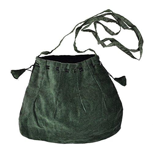 Schnürbare Mittelalter Tasche, grün, mit langem Schulterband