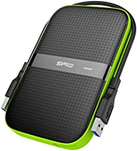 Silicon Power 1TB Armor A60 Shockproof Portable Hard Drive - USB3.0 - Black/Green Edition Model SP010TBPHDA60S3K