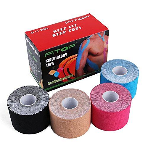 FITOP 4 Rollen Baumwoll Kinesiologie Tapes 5 m x 5 cm, verschiedene Farben - 2