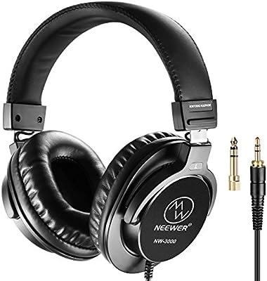 Neewer NW-3000 Auriculares cerrados de estudio, auriculares dinámicos de 10Hz - 26kHz ligero con 3 metros de Cable, enchufes 3,5 mm y 6,5 mm, de poco ruido para apreciar música, viendo películas, jugando juegos, grabación