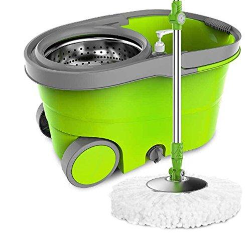 Fregona con cubo de microfibra y cepillo en 5 piezas - Giratorio en multifunción 350 ° y multicolor con garantía de un año (Verde)