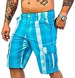 Rock Creek Herren Karoshorts Bermuda Hose CAGO-Shorts Sommer Hose Kurz Shorts Herrenshorts H-158 L Blue12