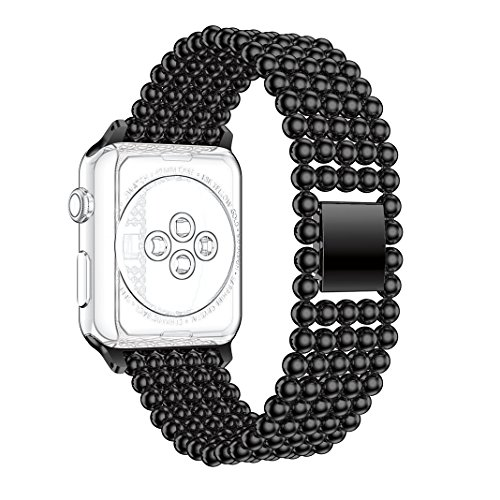 Armband für Apple Watch 38mm, Rosa Schleife iWatch Band Edelstahl Armband Uhrenarmband Replacement Smart Watch Wristband Series 2 Watch Strap Ersatzband Wrist Straps Bracelet Clasp für Apple Watch Series 2 / Series 1 / Sports Edition 38mm Schwarz