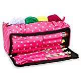 Bolsa para accesorios de costura y organizador de agujas, color rosa con lunares