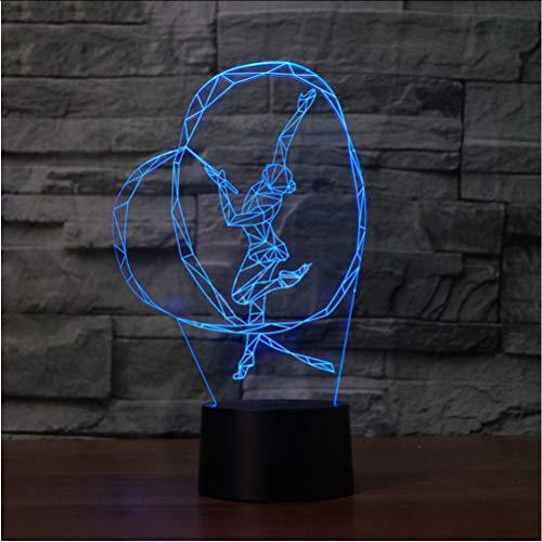 Zlxzlx 3D Nightlight Erstaunliche Led Kreative Kunst Gymnastik Form Usb Schreibtischlampe 7 Farbwechsel Dekor Schlafzimmer Beleuchtung Mädchen Geburtstagsgeschenke