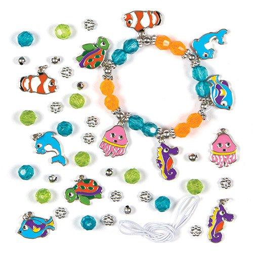 Braccialetti Fai Da Te con Ciondoli Marini per Bambini da Creare e Regalare (confezione da 3)