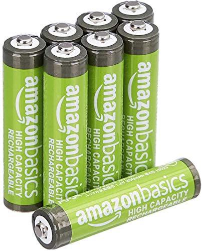 AmazonBasics AAA-Batterien mit hoher Kapazität, wiederaufladbar, vorgeladen, 8 Stück (Aussehen kann variieren)