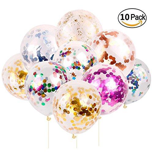 Lezed palloncini colorati confetti palloncini colorati con paillettes palloncini lattice compleanno natale matrimonio anniversario decorazione di layout festa di laurea 10 pezzi 12 pollici 5 colori
