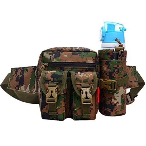 Multifunktion wasserdichte Hüfttasche Militär Tragbare WasserflascheSport Taille Tasche für Reisen Außen Camping Green Camouflage