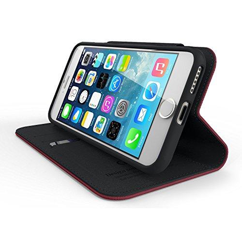 IPhone 7 Plus Case, Cellto PU Housse portefeuille en cuir Support et rabat magnétique réversible [Garantie à vie] Flip Cover pour Apple iPhone 7 Plus - noir / brun Porte-monnaie - Vin rouge / noir