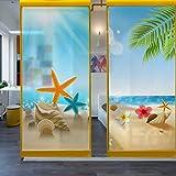Fensterfolien Glasaufkleber Sommer-Strand-Glasaufkleber-Wohnzimmer-Balkon-MattiertesTransparentes Undurchlässiges Badezimmer-Badezimmer-Zellophan-Fenster-Film Eine Art Matte Statische Breite 60Cm * Höhe 90Cm, B Art Matte Statische Breite 45Cm * Höhe 60Cm