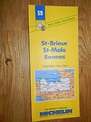 carte routière michelin n°59 ST-BRIEUC - ST-MALO - RENNES