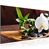 Bilder Feng Shui Orchidee Wandbild Vlies - Leinwand Bild XXL Format Wandbilder Wohnzimmer Wohnung Deko Kunstdrucke Braun 1 Teilig - MADE IN GERMANY - Fertig zum Aufhängen 502312a