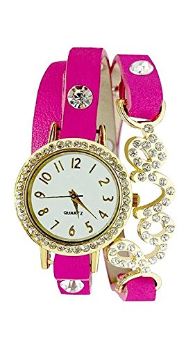 Vk Sales Love Fashionable Pink Strap White Dial Analogue Watch For Women