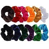 12 Stück Groß Haar Gummiband Samt Haargummis Elastisch Haarbänder, 12 Farben
