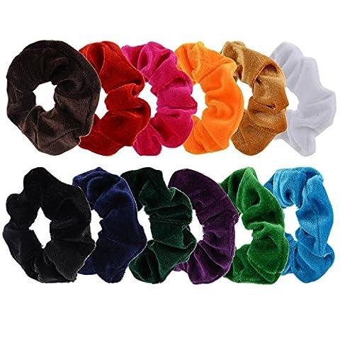 Mudder 12 Pack Hair Scrunchies Velvet Scrunchy Bobbles Elastic Hair Bands, 12 Colors